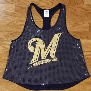 Pink Brewers sequin tank M